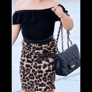 Girls Size 7 Shirt & Leopard skirt set